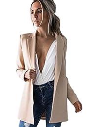 Sentao Mujeres Otoño Slim Fit Elegante Oficina Blusa Traje de Chaqueta Outwear Casual Largo Cardigan Top Abrigo