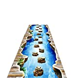 LILISHANGPU Teppiche Läufer 3D-Stereo-Thriller Gang DIY Korridore Runner Langen Korridor Eingang Slip waschbar Fußmatte in Waschmaschine formalen Schritt (Farbe : A, Größe : 1 * 5m)