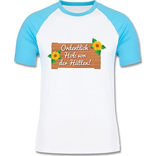 Après Ski - Holz vor der Hütten - zweifarbiges Baseballshirt für Männer Weiß/Türkis