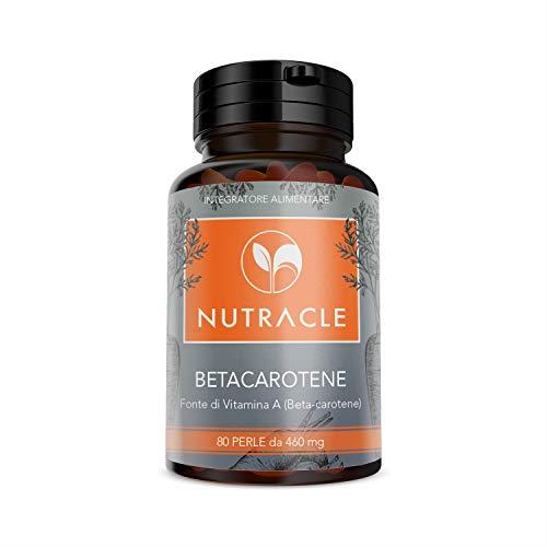 NUTRACLE Beta carotene 80 perle da 460 mg | Alta disponibilità di ProVitamina A Antiossidante | Per un'abbronzatura più intensa e duratu