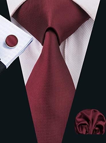 set multiplo HISDERN set di 3 cravatta classica da uomo per festa di nozze cravatta e quadrato tascabile