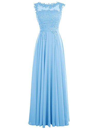 Dressystar Robe femme, Robe de soirée/ Cérémonie longue, appliques, en Mousseline Bleu