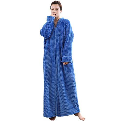 Chemise de Nuit Longue Femme Manche Longue Unisexe Couple Pyjama Kimono Maternité Vêtements Peignoir Robe de Chambre Polaire Zippée Bathrobe Nightgown pour Hotal Spa Homewear Romper Cadeau de Noël