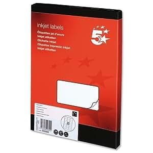 5 Star Addressing Labels Inkjet 21 per Sheet 63.5x38.1mm White [2100 Labels]