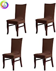 House of Quirk Elastic Chair Cover Stretch Removable Washable Short Dining Chair Cover Protector Seat Slipcover - Brown (Pack of 4)