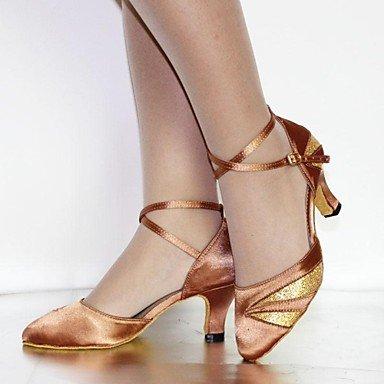 XINJING-S Les femmes Chaussures de Danse Amérique/Standard/satin Talon Chaussures similicuir Noir/Jaune/Rouge/chocolat,2 1/2