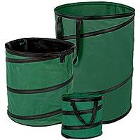 Fundwerk LP-3694 Bolsa de 3 Residuos de Jardín Desplegable, 170 Liters, Dark Green, 1 x 170L / 1 x 85L / 1 x 15L