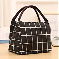 Deal Noon Reusable Stylish Handcrafted Lunch Box Insulated Lunch Bag For Men & Women Boy & Girl Meal Prep Lunch Tote Boxes (Grid Design - Black)
