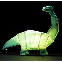 Dinosaur Lamp Green Origami Diplodocus Night Light by Disaster Designs