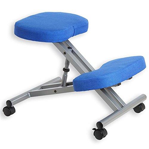Tabouret ergonomique ROBERT aluminium/bleu