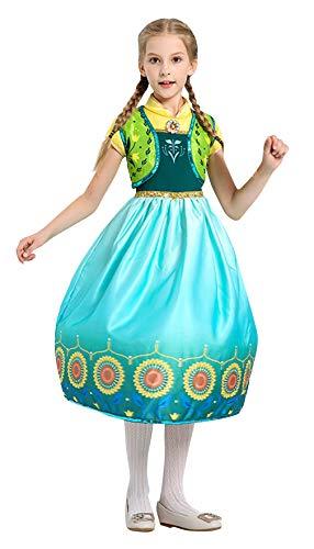DEMU Prinzessin Kostüm Kinder Mädchen Schnee EIS Verkleidung königin Party Kleid Karneval Halloween XL(130-140) (Eis Königin Kostüm Kinder)