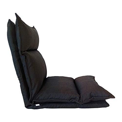 Rebecca Mobili Chaise de Méditation Siege de Sol Métal Noir Polyester Pliable Balcon Maison (Cod. RE6198)