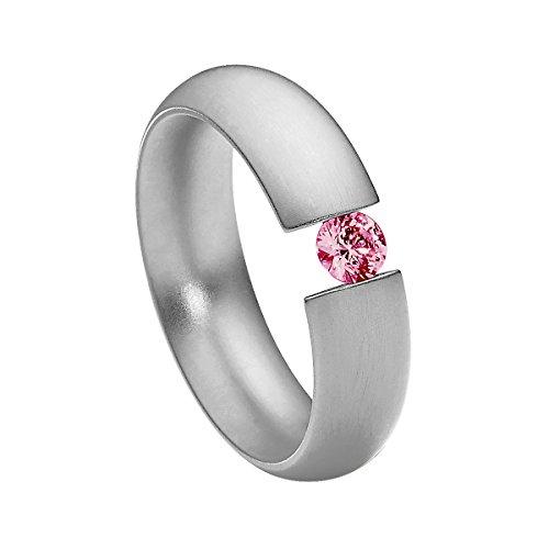 Heideman Damen-Ring intensio matt Spannring mit Swarovski stein rubin rot 4 mm funkelt wie ein Diamant aus Edelstahl silber farbend Größe 57 (18.1)