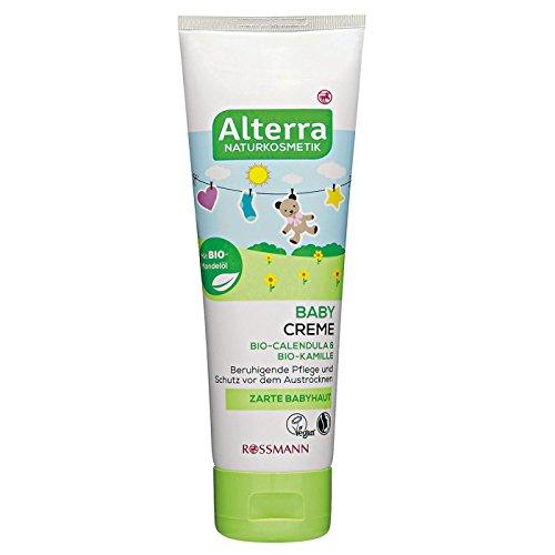 Alterra Baby Creme 75 ml für zarte Babyhaut, mit Bio-Calendula, Bio-Kamille & Bio-Mandelöl, beruhigende Pflege & Schutz vor dem Austrocknen, zertifizierte Naturkosmetik, vegan
