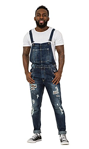 Destroyed Denim Herren Latzhose - Slim Fit Abnutzungseffekt Overalls ALAN-L-W32