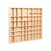 Alsino Wooden Display Case Cabinet   for Wall   Untreated natural Pinewood   approx. 18