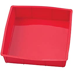 Inditradition Baking Silicone Cake Pan, Baking Mold | 9 x 9 x 1.6 Inch, Square, BPA Free (Red)