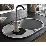 Festnight Granitspüle Einzelbecken   Oval Küchenspüle   Einbauspüle Spülbecken Spüle   Grau Granit 1-Becken