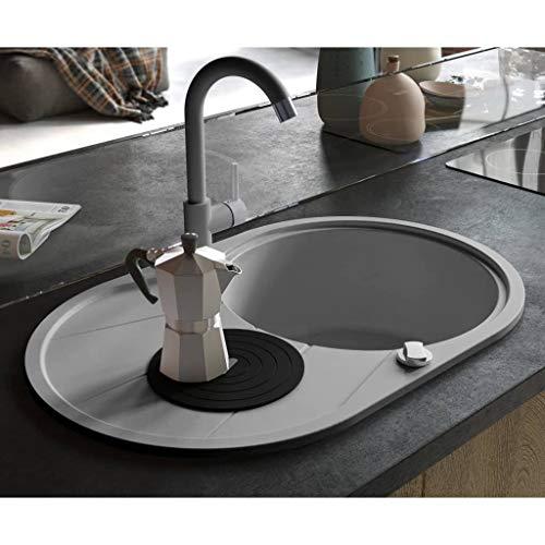 Festnight Granitspüle Einzelbecken | Oval Küchenspüle | Einbauspüle Spülbecken Spüle | Grau Granit 1-Becken