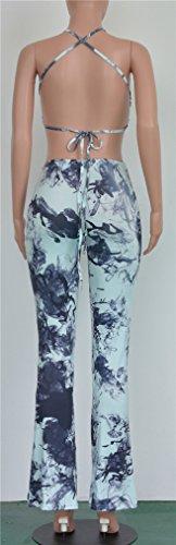 Sans manches Backless Women Crop Printed Tops moulantes Pants Clubwear Party Set Bleu tie-dye.