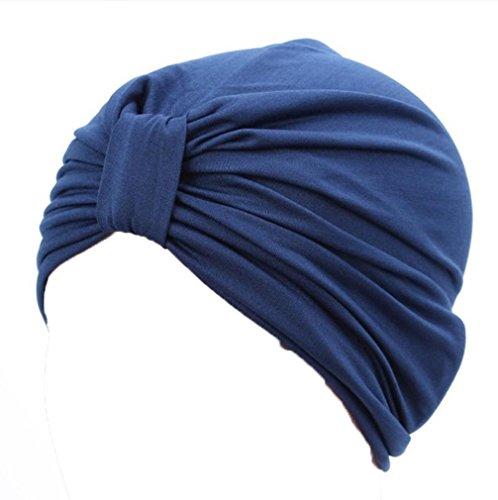 LHWY Mujeres Musulmanas Estiramiento Turbante Sombrero De Quimioterapia Cap PéRdida Del Cabello Cabeza Bufanda Envoltura Hijib Cap (Azul marino)
