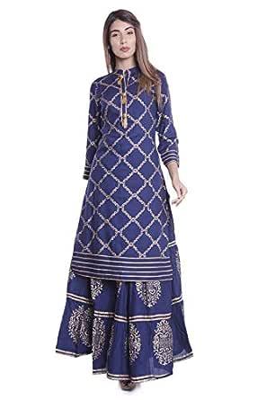 ERISHA Straight Rayon Gold Print Kurti Skirt Set for Women's_Royal Blue