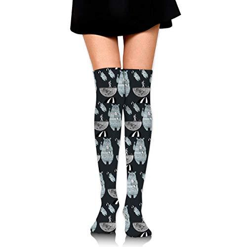ouyjian Kniestrümpfe Regenschirm Bär Lunar Astronaut Lange Socken Stiefelstrumpf Kompressionssocken Für Frauen -