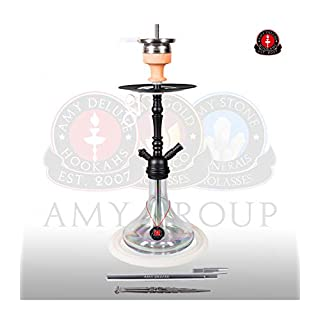 AMY Shisha 056 Middle Globe - clear - RS black powder