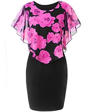 Logobeing Blusas Mujer Tallas Grandes Vestido Casual de Volantes de Gasa Con Estampado de Rosas Tops Elegantes...