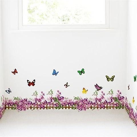 Free Will, colore: viola con motivo floreale e farfalle, con recinzione Decor-Adesivo decalcomania da parete