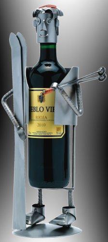 Boystoys HK Design Weinflaschenhalter Ski-Fahrer Skisport - Metall Art Weinflaschen-Deko...