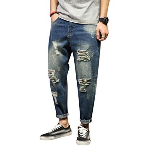 Yiiquan jeans uomo strappati lavato pantaloni in denim uomini straight pantaloni jeans moda stile 3 34