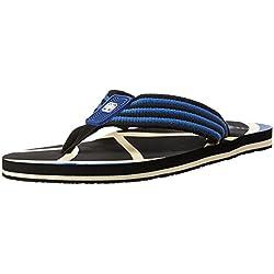 Woodland Men's Black and Beige Flip Flops Thong Sandals - 8 UK/India (42 EU)