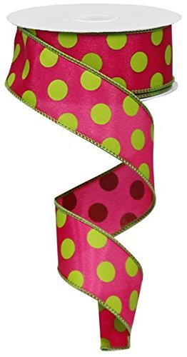 Polka Dot Draht Rand Band (3,8 cm Hot Pink Lime) - 10 Meter: rg1586aw -