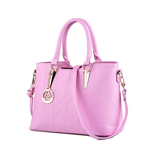 Emotionlin Style Europei Femminili Borsa Spalla Pure Color Pu Leather Tote Di Donne Zip Pouch Bag(Green) Pink