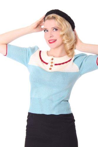 SugarShock 30s 40s retro BRANKA Rockabilly Kragen Jumper Pullover Strick Shirt eisblau / cremé