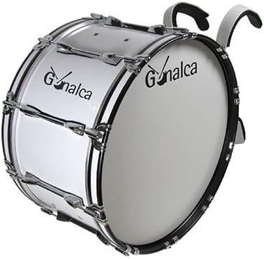 Gonalca Percusion 4098 - Bombo marching 50 x 35 con hombrera, color blanco