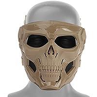 Tawcal Máscara Táctica de Airsoft del Cráneo, Máscara Protectora de la Cara Completa Paintball CS Hockey Halloween Masquerade Cosplay Máscara esquelética de Protección para los Ojos,marrón