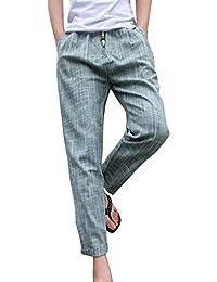 ADELINA Pantalones De Lino De La Vendimia De Los Ropa Pantalones De Hombres  Harén De La c7599616c31