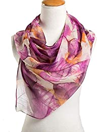 Ziory Purple 1 Pc fashion leaves printing long georgette silk scarf for Girls and Women