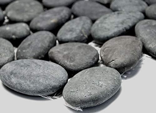 Mosaik-Netzwerk Kiesel flach mix dunkelgrau Flußkiesel Steinkiesel Flussstein Kieselmosaik Wohnzimmerwand Küchenwand Boden Fliesenspiegel Spritzschutz Küche Duschwand Mosaik, Mosaikstein Format: 30-60x8-10 mm, Bogengröße: 60 x 100 mm, 1 Handmuster ca. 6x10 cm -