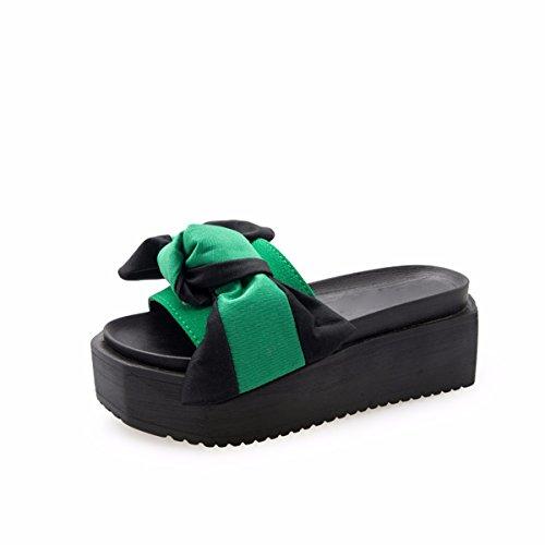 HBDLH Damenschuhe/Mode/Sommer - Dicke Hintern Hausschuhe Bogen Fuß Kalt Ziehen High Heels Damenschuhe 38 Grüne
