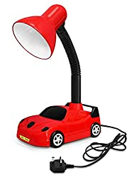Racing Car Desk Lamp Flexible Red and Black with LED Golf Ball Bulb 4w