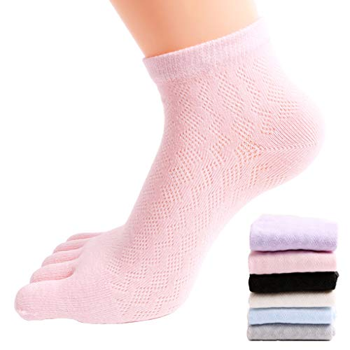 FULLANT 6 Pares de Calcetines de Mujer de Cinco Dedos de Algodón Suave Mezcla Casual Sport Calcetines de Malla