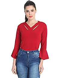 20ce9a03d18761 DIMPY GARMENTS BuyNewTrend Cotton Blend V Neck Long Sleeve Top for Women