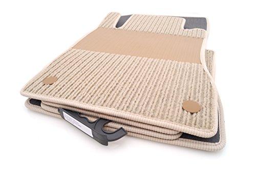 kh Teile Fußmatten/Rips Automatten Original Qualität, Ripsmatten 4-teilig, Beige mit Absatzschoner