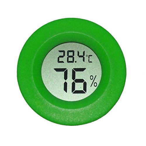 AGEG Runder Digitaler Elektronischer Thermometer Feuchtigkeitsmesser Hygrometer Humidiometer mit LCD-Anzeige für Familie Büro Fabrik Hundehütte Reptil Behälter (Grün)