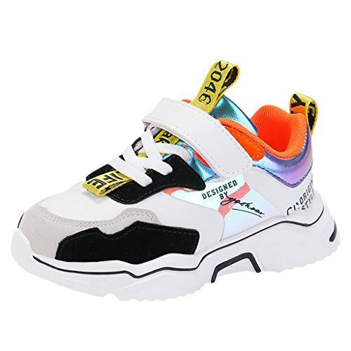 HDUFGJ Unisex-Kinder Sneakers Laufen Schuhe Sportschuhe Sneakers Jungen Mädchen Outdoorschuhe Wanderhalbschuhe Fliegendes Weben Luftkissen Flache Schuhe Faule Schuhe Stoßdämpfung 31 EU(Weiß)