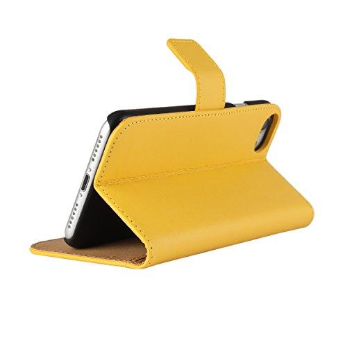 Meimeiwu Alta Qualità Slim Flip Cover Leather Wallet Cover Case Custodia Per iPhone 7 - Pink Giallo