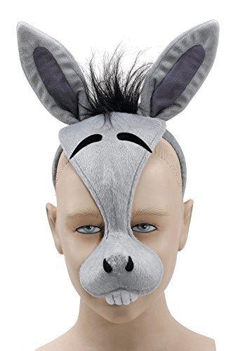 Fancy Me Damen Herren Mädchen Jungen Animal Halloween Buch Kostüm Gesichtsmaske mit Ton Kostüm Outfit Zubehör - Esel